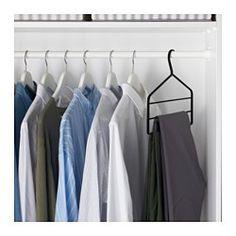 Samtige Oberfläche und abgerundete Enden - so hängen Hosen auf dem Bügel, ohne zu verrutschen und ohne dass Druckstellen entstehen. Für 3 Paar Hosen; spart Platz im Schrank.