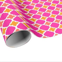 Chic pink and yellow quatrefoil wrapping paper - patterns pattern special unique design gift idea diy