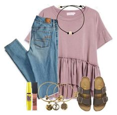 A fashion look from October 2016 by marthaswilliams featuring American Eagle Outfitters, Birkenstock, Alex and Ani y Maybelline Cute Outfits For School, Cute Comfy Outfits, Simple Outfits, Trendy Outfits, Simple College Outfits, Birkenstock Outfit, Looks Plus Size, Teen Fashion Outfits, Women's Fashion