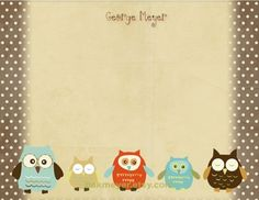 Owl Stationary Collection by bakmeyer on Etsy, $22.00