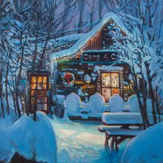 "Nicholas Reti ""Snowy Night Camp 4"" 20""x20"" Oh-Be-Joyful Gallery www.ohbejoyfulgallery.com"
