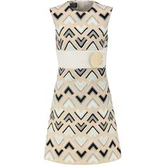 Giambattista Valli Jacquard dress (€685) ❤ liked on Polyvore featuring dresses, beige, giambattista valli, giambattista valli dress, loose fitted dresses, fitted dresses and panel dress