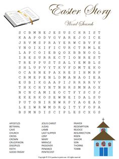 Here is a religious Easter word search puzzle ready for you to print and use for Sunday school class or home use.  Features 29 terms from the biblical story.