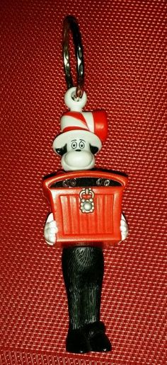 """WORKING Cat In The Hat BURGER KING Keychain Collectible Figurine Toy  5"""" Promo"""