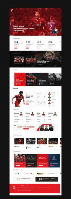Liverpool FC Website Design Concept on Behance Not a fan of covering the four corners. Design is clean and the player stats section is awesome. Design Websites, Online Web Design, News Web Design, Web Design Quotes, Web Design Studio, Creative Web Design, Web Design Company, Pop Design, Design Lab