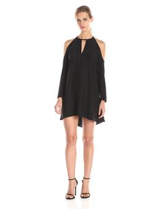 Amanda Uprichard Women's Jasime Cold Shoulder Long Sleeve Dress, Black, X-Small