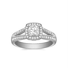 Engagement Ring with 0.342 CT. T.W. side diamonds, Round Shape
