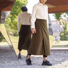 Green spun silk padded skirts BonLife