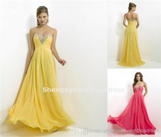 2014 New Sexy A Line Chiffon Yellow Zipper Prom Dresses | Buy Wholesale On Line Direct from China