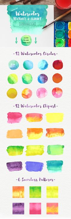 Watercolor Textures & Clipart by epikly on @creativemarket