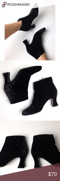 DKNY  /  Velvet Booties Unique black velvet booties from DKNY. Size 8 • fit like a 7-7.5 • vintage but in great condition • minor scuffs • genuine leather sole and lined • a true staple piece! DKNY Shoes Ankle Boots & Booties