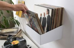 Show off your records with this wall-mounted record shelf