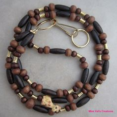 Giraffe Brown Wood and Gold Beaded Lanyard by missvalscreations