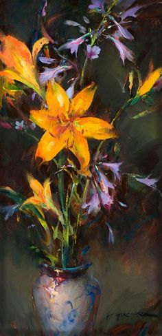Dan Gerhartz is known for his romantic, painterly floral still lifes. art for the home, romantic paintings, original art, original oil paintings, art by Dan Gerhartz, home decor, flower paintings, floral paintings, still life paintings