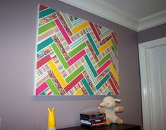 Pinterest inspired chevron patterned canvas with me & my BIG ideas Paper Pad & Pod-Podge. What a great way to use up scrapbook paper!