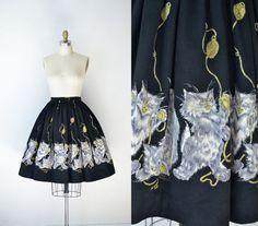 1950s Novelty Print Skirt / 50s Cat Print by FemaleHysteria