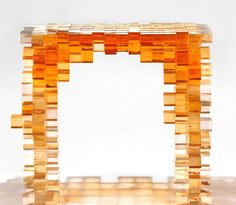 from Nucleo, a collection of ethereal furniture composed of 5×5 cm cast resin cubes - console table #yellow