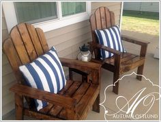 Adirondack chairs Do It Yourself Home Projects from Ana White--I wanna build these for our front porch! Pallet Furniture, Furniture Projects, Furniture Plans, Home Projects, Outdoor Furniture, Outdoor Projects, Pallet Bench, Furniture Chairs, Upholstered Chairs