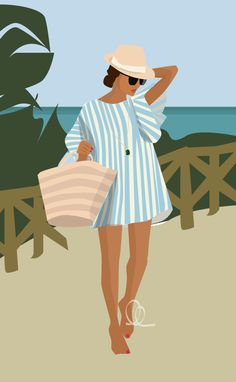 Vector Illustration: Summer Island Beach Girl