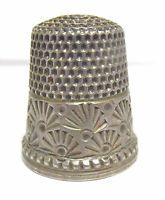 ANTIQUE STERLING SILVER THIMBLE SIZE 9 BURST PATTERN 6/22/17 #37 SYBOLL