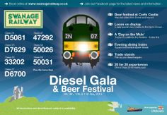 Don't forget our Diesel Gala - with an amazing line up of visiting engines, including two from the National Railway Museum (York). More details on www.swanagerailway.co.uk