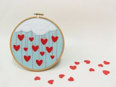Omgosh Love this! lovelyetsythings:    Embroidery hoop wall art Rain of heartsFrom: buligaia