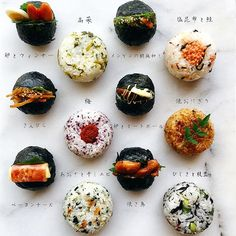 Rice balls (mixed with sesame oil) オイルおにぎり Cute Food, Good Food, Yummy Food, Asian Cookbooks, Yakisoba, Rice Balls, Exotic Food, Quick Easy Meals, Japanese Food