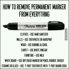 Funny pictures about How To Remove Permanent Marker. Oh, and cool pics about How To Remove Permanent Marker. Also, How To Remove Permanent Marker photos. Household Cleaning Tips, House Cleaning Tips, Diy Cleaning Products, Cleaning Hacks, Deep Cleaning, How To Remove Sharpie, Remove Permanent Marker, Simple Life Hacks, Life Hacks