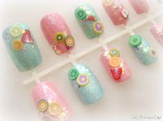 Sweet pastel fruit nails Japanese nail art #nails #kawaii #glitter
