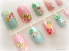 Sweet pastel fruit nails Japanese nail art set by celdeconail, $25.00