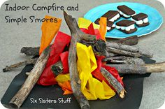 Rainy day blues? Make a fun indoor campfire and simple s'mores! My kids loved this!