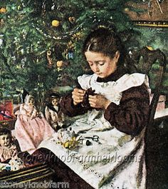 Counted Cross Stitch Doll Pattern | Girl With HER Dolls Vintage Christmas…