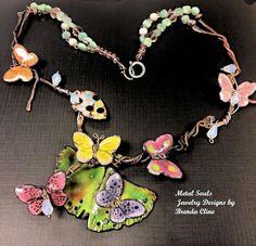 Torched Fired Glass Enamel Butterflies