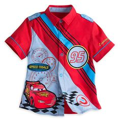 [Dialed in]A series of dials show Lightning McQueen pushes things to the max in his efforts to become champion. The pride of Radiator Springs crosses the finish line on this woven shirt featuring a winning combination of graphics and appliqués.