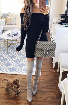 off the shoulder black bodycon with grey kneelenght boots