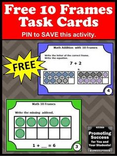 Free 10 Frames activities and games with task cards for special education or  kindergarten math centers or stations