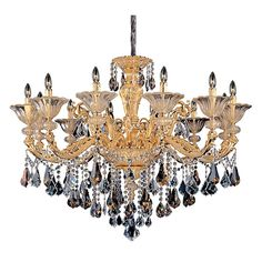 Mendelsshon Two-Tone 24K Gold 12-Light Chandelier with Firenze Mixed Crystal