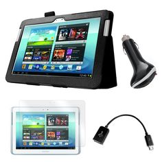 """Mgear Accessories Black Folio Case with Screen Protector, OTG Cable, and Car Charger for Samsung Galaxy Note 10.1"""" Tablet"""