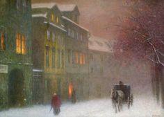 Street with cab in winter dusk (1910) - Jakub Schikaneder
