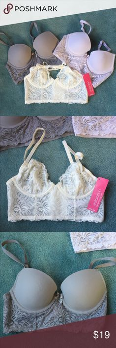 Set of 3 Bustier Bras All are in great condition. Lightly used cuz they turned out to be too small. Has 5 hook'n'eye closures. Colors are grey, white & cream. The cream is actually a bralette and it is new with tags. Xhilaration Intimates & Sleepwear Bras