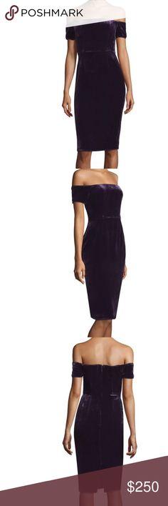 """Brand new BCBG """"Kerry"""" velvet dress in plum Off the shoulder velvet dress BCBGMaxAzria Dresses"""