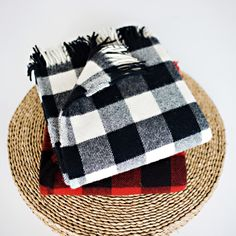 Buffalo Plaid Fringe Wool Throw