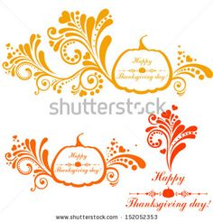 Happy thanksgiving day background. Collection of design elements vintage set isolated on White background. Vector illustration  by Kalenik H...