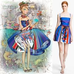Sweetly fierce: RED Valentino embraces fantasy and fairy tales. Pictured: inspriation + multi print cotton dress