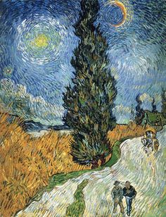Vincent van Gogh (1853 - 1890): Road with Cypress and Star, 1890