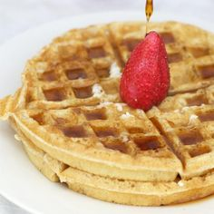 MIlk and egg free waffles.. Really good!! I used coconut oil instead for my baby and he loved them. I served it with Bluberries.