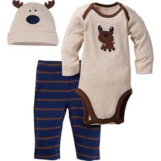 64944a642c1cb 3-Piece Boys Moose Bodysuit   Pant Set