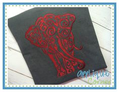 Elephant Swirls Embroidery Design -- All I can say is Roll Tide.  Love it