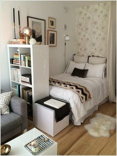 design for small bedroom space saving - design for small bedroom + design for small bedroom space saving + design for small bedroom diy + design for small bedroom ideas + design for small bedroom layout Modern Apartment Design, Studio Apartment Decorating, Apartment Therapy, Apartment Layout, Apartment Ideas, Apartment Makeover, Room Makeovers, Apartment Furniture, Decorating Small Bedrooms