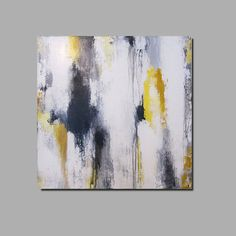 wall painting/ black, gray, white, yellow colors scheme